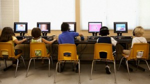 Elementary school students using computers