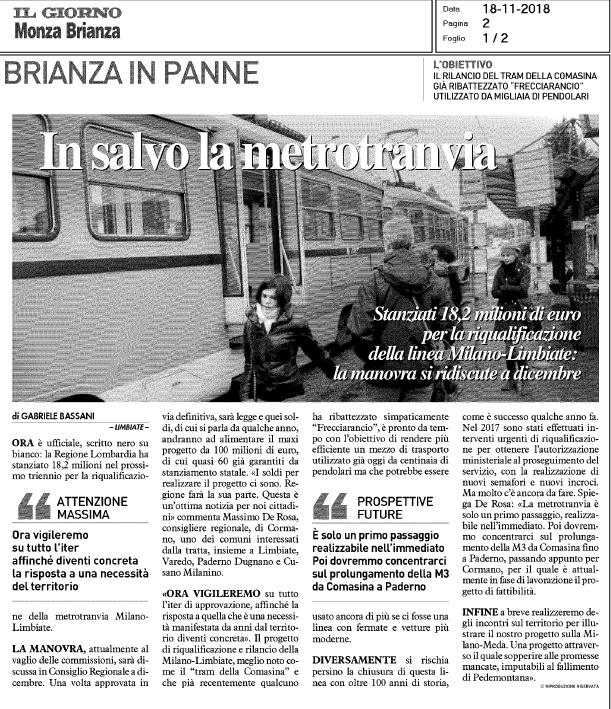 """Regione bilancio, confermati stanziamenti per metro tranvia Milano-Limbiate: """"Una buona notizia, continueremo a vigilare sul progetto di riqualifica"""" - M5S notizie m5stelle.com"""