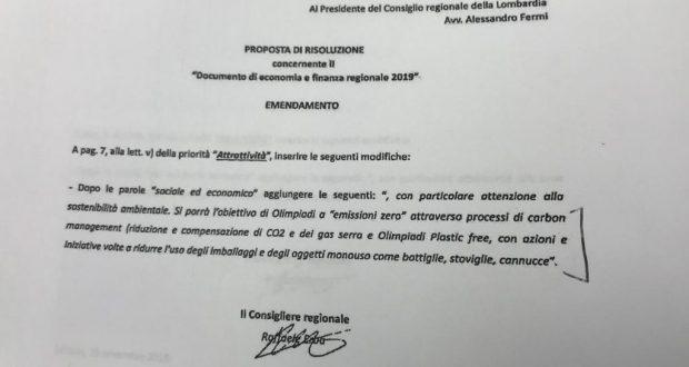 """Olimpiadi 2026. Maggioranza vota contro emendamento """"emissioni zero"""" e """"plastic free"""""""