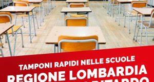"""Tamponi rapidi nelle scuole: """"Regione Lombardia è, ancora una volta, colpevolmente in ritardo"""""""