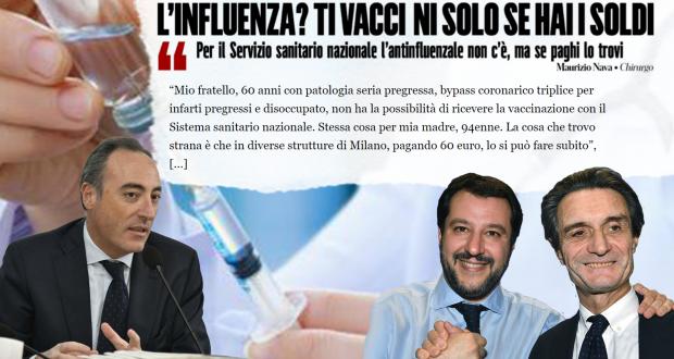Vaccino antinfluenzale in Lombardia? Solo se paghi…