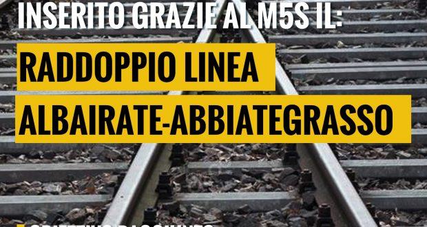 Raddoppio linea Albairate-Abbiategrasso entro il 2026, il progetto inserito nel PNRR dal M5S